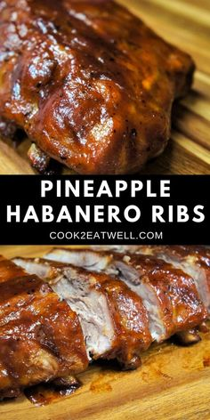 These fall-off-the-bone Pineapple-Habanero Ribs are oven baked, then glazed with a slightly sweet and a little spicy barbeque sauce. The sauce is super simple to make; plain barbeque sauce is combined with pineapple juice and habanero pepper hot sauce. Spicy Bbq Ribs Recipe, Pork And Beef Recipe, Pork Rib Recipes, Barbecue Recipes, Spicy Recipes, Barbeque Sauce, Grilling Recipes, Meat Recipes, Chicken