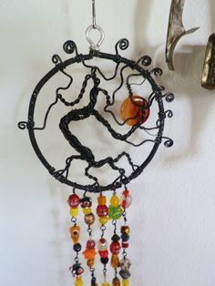 Halloween Tree of life, sun catcher wire wrapped beaded