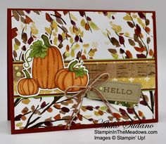 Stampin' Up! Pretty Pumpkins for the Inkin' Krew Blog Hop – Stampin' in the Meadows Pumpkin Cards, Paper Pumpkin, Pumpkin Images, Scrapbooking, Fall Cards, Christmas Cards, Cute Pumpkin, Thanksgiving Cards, Holiday Sales