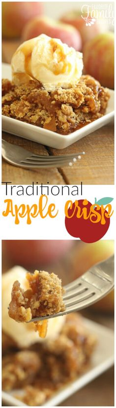 This is a no-frills, easy, traditional apple crisp recipe that can't be beat. Just like the apple crisp the lunch lady used to make back in the good ol' days (but better)! via @favfamilyrecipz