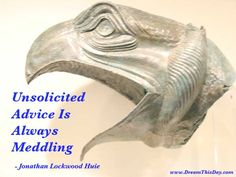 Unsolicited Advice Is Always Meddling. - Jonathan Lockwood Huie