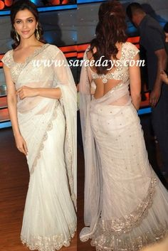 Checkout deepika padukone in designer off white saree with work lazer cut border and paired with matching work mega short sleeves blouse. Off White Saree, White Sari, Deepika Padukone, Sonakshi Sinha, Saree Gown, Lehenga, Indian Dresses, Indian Outfits, Sari Bluse