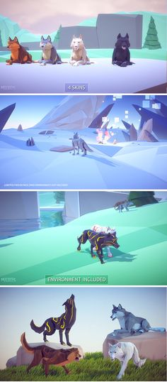 Poly Art: Wolf 3D Models/Characters/Animals They're so many amazing Low Poly Art Environments but is so sad that there's no wild life to populate them.. So here is some beautiful animals! (Wolf)They come with +62 AAA Animations.  Includes character controller, and a animator component but you can always create your own or modify the existing one. 4 different Styles(Nymeria,Shaggy,Summer,Ghost)*Magic Mode