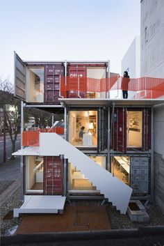 Shipping Container Homes: Daiken-Met Architects - Gifu City, Japan - Shipping Container Office Container Architecture, Interior Architecture, Interior Design, Shipping Container Office, Shipping Container Buildings, Shipping Containers, Shipping Crates, Container Home Designs, Casas Containers