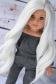 """Custom Doll Wig for 18"""" American Girl Doll - Heat Safe - Tangle Resistant - fits 10-11"""" head circumference of any doll Doll Wig White"""