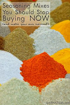 Homemade Seasoning Mix Recipes - How to make your own Spices are expensive, and seasoning mixes are even MORE expensive. Stop buying them and make them yourself! Here are 4 recipes! Homemade Spices, Homemade Seasonings, Spice Blends, Spice Mixes, Make Your Own, Make It Yourself, How To Make, Spices And Herbs, Seasoning Mixes