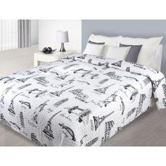Prehoz na manželskú posteľ bielej farby s obrázkami svetových pamiatok