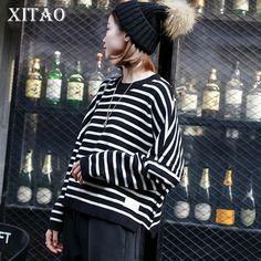[XITAO] Korea 2017 New Autumn Fashion Casual Women Striped Loose Sweaters Female Full Sleeve O-Neck Pullover Sweaters CXB680 #XITAO #sweaters #women_clothing #stylish_sweater #style #fashion