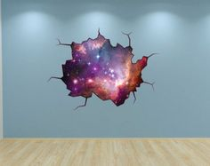 Galaxy Wall Decal Outer Space Sticker Mural Outer Space Cracked Wall Graphic
