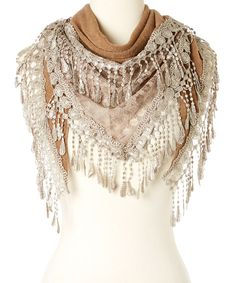 Look at this modern centers trade Khaki Crochet Drop Scarf on #zulily today!
