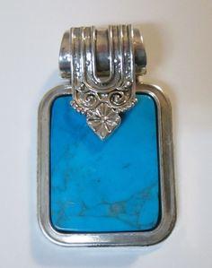 "Turquoise & Silver Tone Heavy Necklace Pendant 45g Signed BEST 2"" Statement Aqua #Best #Pendant"