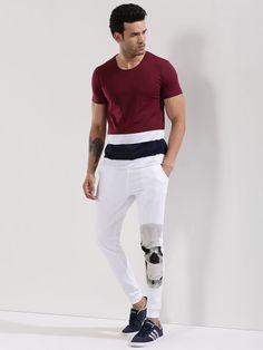 KOOVS Multi Color Striped T-Shirt T Shirt And Shorts, Neck T Shirt, Men Shirt, Color Stripes, Tee Design, Boys Shirts, Tshirts Online, Shirt Designs, Menswear