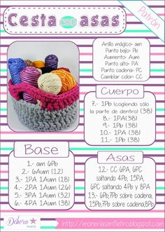 Monerías: ♥ Patrón Cesta con asas de Trapillo One Skein Crochet, Crochet Box, Easy Crochet Blanket, Crochet For Boys, Baby Headband Tutorial, Cotton Cord, Crochet Dolls Free Patterns, Popular Crochet, Crochet Bookmarks