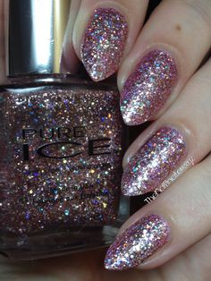 Pure Ice Spit Fire is a gorgeous glitter bomb that is loaded with light pink glitter and lots of silver holographic glitter as well. Glitter Bomb, Pink Glitter, Sponging, Holographic Glitter, Nail Polish Collection, Nail Inspo, My Nails, Swatch, Nail Art