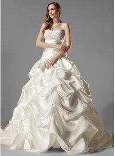 Ball-Gown Sweetheart Chapel Train Satin Wedding Dresses With Ruffle  Lace  Beadwork (002000451)