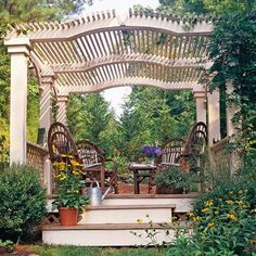 Pergola with a Curved Roofline        Get creative with your pergola's roofline. Shallow curves on a pergola roof normally can be cut from wide stock, especially when multiple boards are sandwiched together to make thicker beams. If in doubt, run the design details by local building officials or a professional engineer before proceeding.