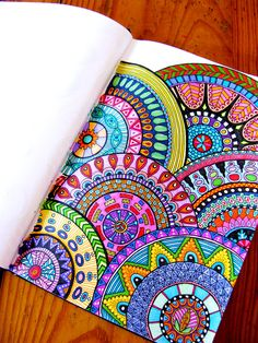 Beautiful colored zentangle doodles from HelloAngelCreative.com -- amazing both in color and design