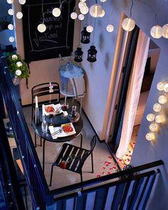 Iluminação aconchegante para curtir sua sacada ou varanda mesmo durante a noite!
