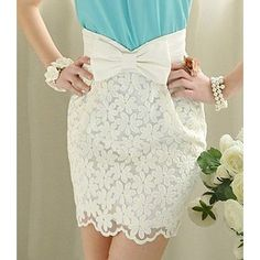 Embroidered lace elegant noble bowknot Short skirt