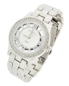 Rhodiumized / Silver / Clear Rhinestone / Lead&nickel Compliant / Metal Stainless Steel Back / Deployant Clasp / Watch
