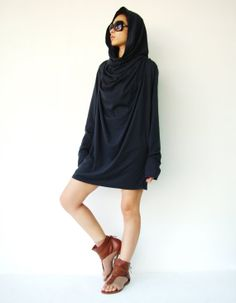 NO.101  Midnight  Blue Cotton Jersey High Cowl Neck Tunic Top Draped Cowl Neck T-Shirt