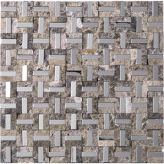 12 in. x 12 in.Maze Design Emperador Marble and Stainless Steel Mosaic Tile