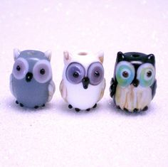 Owl Lampwork Glass Beads from jewelry56 on Etsy