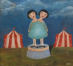 Circus Twins Cat Folk Art Print by KilkennycatArt on Etsy, $15.00