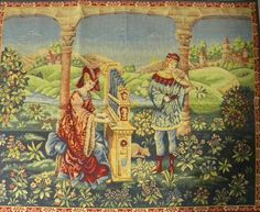 Woven in France History: Chant D'Amour, or Song of Love, is a French woven jacquard wall tapestry. The artwork is a detail from a century tapestry depictin Tapestry Design, Wall Tapestry, Medieval Music, Medieval Times, Medieval Tapestry, Vintage Romance, Chant, Green Backgrounds, Hanging Wall Art