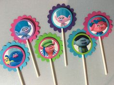Trolls Movie Cupcake Toppers by PartysandMore on Etsy