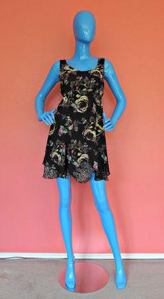 CAbi Reversible Mini Dress S 4 6 8 Summer Tunic Sleeveless Romantic Flirty Artsy #CAbi #Sundress #WeartoWork
