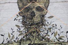 Streetart mural Alexis Diaz The Cage detail skull London Brick Lane