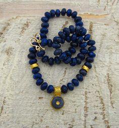 Gold Lapis Lazuli Necklace 24k  Solid gold Lapis Lazuli & by Omiya,