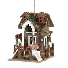 """Fishing Pier"" Shack Hut Birdhouse Fisherman Outdoor Cabin Garden Nautical Decor"