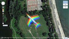 Rainbow airplane on Google Maps satellite images