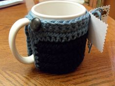 handmade crocheted coffee mug cozy or by TheLeftHandedHooker, $12.00