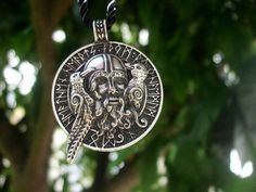 """Superb Odin Necklace with his two Ravens which brings us back to the old Norse Gods. Muninn, """"Desire"""" are two ravens in Norse mythology who are shamanic helping spirits of the god Odin."""
