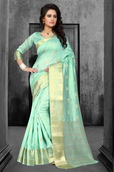 Sea Green Tussar Silk Saree With Blouse 67598