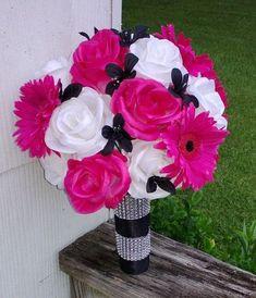 Hot Pink White Black Rose Bridal Bouquet 2 Piece Set Wedding