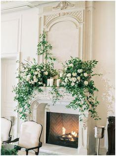 Wedding Fireplace Decorations, Wedding Mantle, Wedding Altars, Chateau Wedding Decor, Mantle Greenery, Floral Wedding, Wedding Flowers, Wedding Titles, Fair Photography