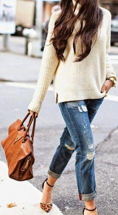 Fashion trends   Cream sweater, boyfriend jeans, animal printed heels, handbag