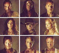 The Walking Dead Season 3 cast. Rick, Michonne, The Govener, Lori, Carl, Andrea, DARYL!!!!!!!!!!!!!!!, Carol, and Merle.