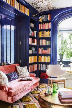 Carrier and Company Crafts a Family Home in Brooklyn for Maisonette Cofounder Sylvana Durrett ~ETS Pink Couch, Home Libraries, Home Library Decor, Library Room, Home And Deco, Architectural Digest, My New Room, Interiores Design, House Colors
