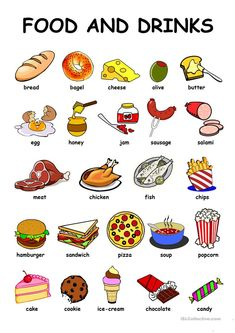 Food Drinks - English ESL Worksheets for distance learning and physical classrooms Learning English For Kids, English Lessons For Kids, Learn English Words, English Language Learning, Teaching English, French Language, English Teachers, French Lessons, German Language