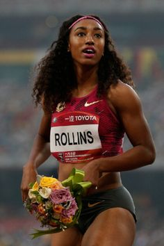 Brianna Rollins of the United States celebrates winning the Women's 100 meters hurdles of 2014 IAAF Beijing Challenge at National Sports Center on 21.05.2014 in Beijing, China.