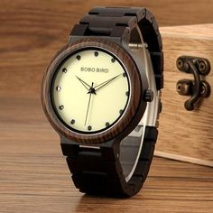 Men's Wood Watch with Luminous Dial Face    Wood watches for men style internet unique products shops fashion for him date band awesome accessories gift ideas beautiful guys dads outfit boxes pictures man gifts casual For sale buy online Shopping Websites AuhaShop.com