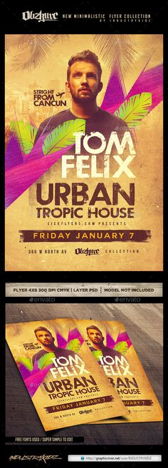 Tropical House Flyer PSD - Clubs & Parties Events