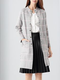 #AdoreWe #StyleWe Coats - NATURAL HOUSE Long Sleeve H-line Simple Printed Front Pockets Coat - AdoreWe.net