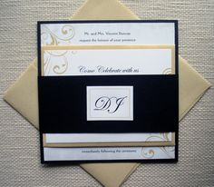Black and Gold Vintage Metallic Wedding Invitation by alamodebride