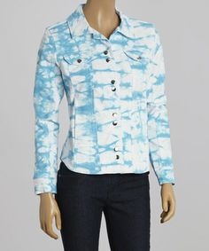 Look at this #zulilyfind! Blue Tie-Dye Denim Jacket - Women by Live A Little #zulilyfinds